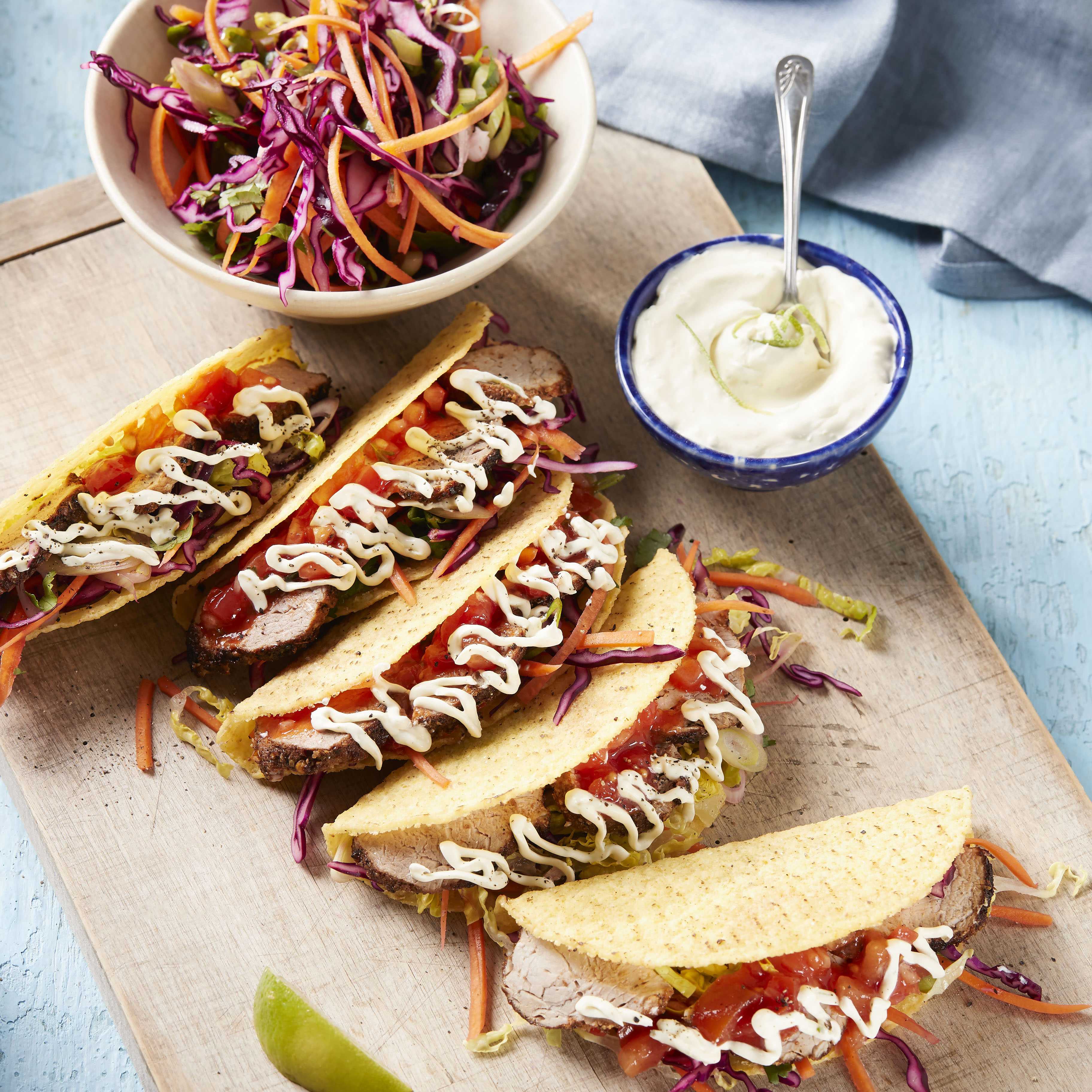 recipe image Spicy Pork Fillet Soft Shell Tacos